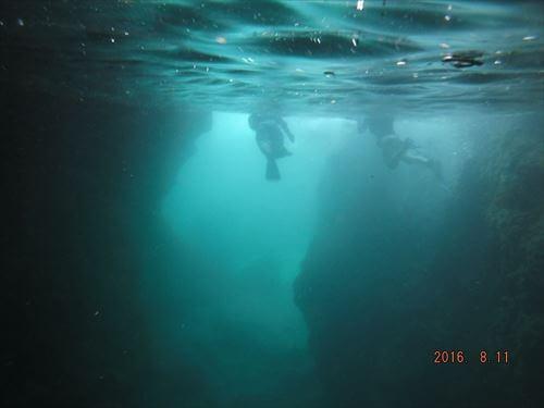 伊豆の落居海岸でシュノーケリング-トンネル