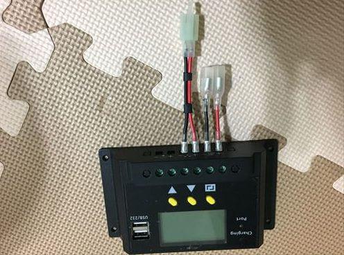 ソーラー充電コントローラーに配線加工