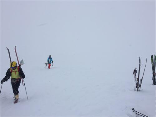 ニセコゲレンデのピーク登山中間地点