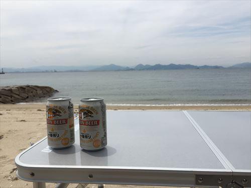 江の浦海水浴場とビール