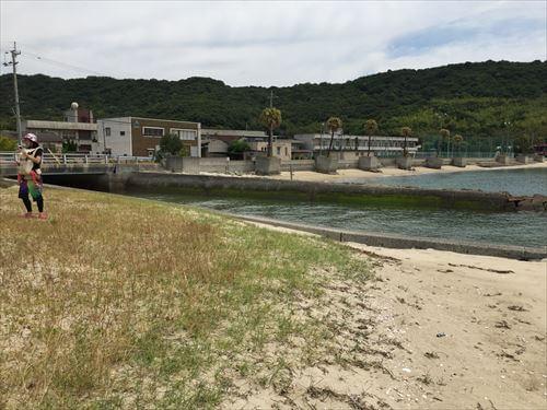 江の浦海水浴場に流れる川