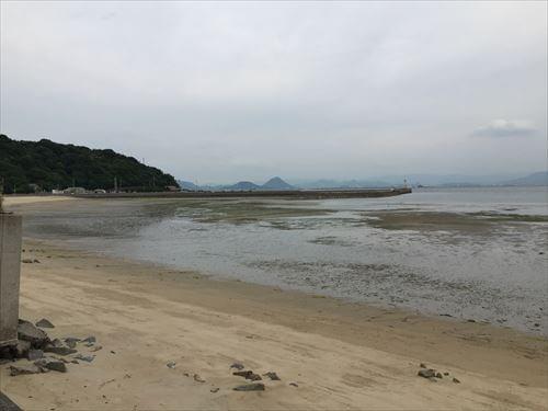 江の浦海水浴場の潮引き