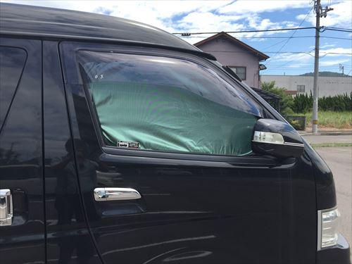 ハイエースワイド専用サンシェードを取付け-外側