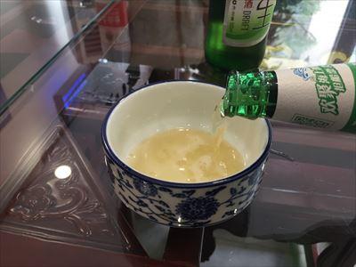 ビールを茶碗で