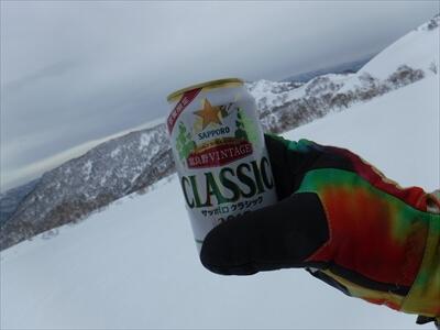 札幌国際スキー場のハイクアップコースでビール乾杯