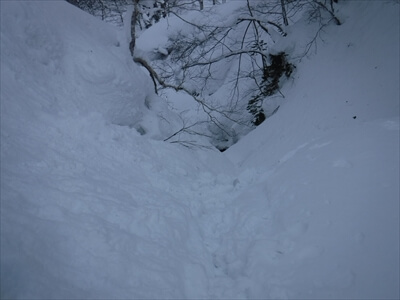 札幌国際スキー場のハイクアップコースからの滑走行き止まり