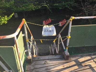 くりはま花の国の冒険ランドの遊具立入禁止