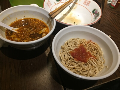 カッパ64の『豚ねぎラー油つけ麺』の替え玉トマト麺
