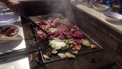 女木島のナイトバーベキューイベントの肉や野菜