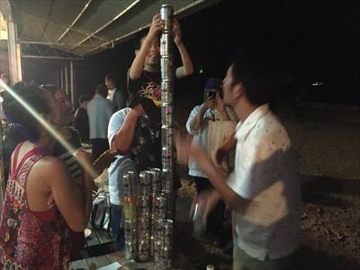 ビール缶タワー
