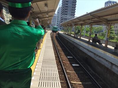 緑の車掌さん