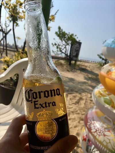 女木島(鬼ヶ島)でコロナビールで乾杯