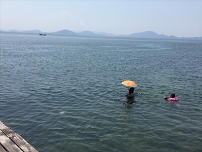 日傘で海水浴するセレブ