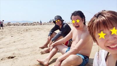 女木島で海水浴