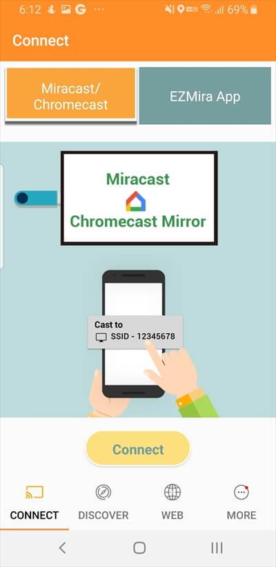 Anycastのアプリのconnectボタン