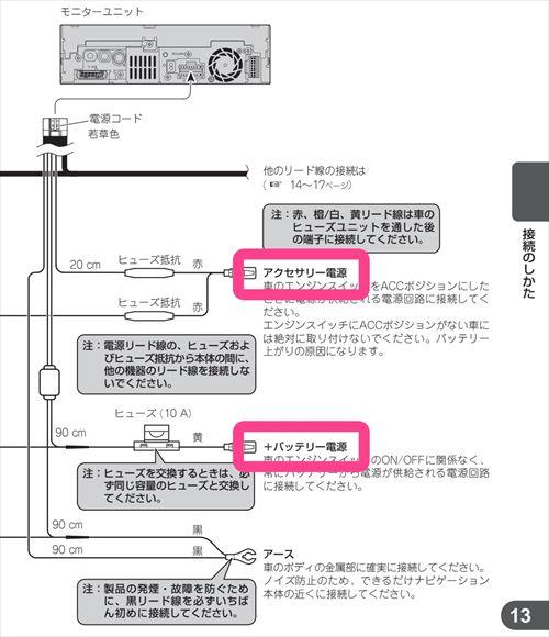 常時電源とアクセサリー電源-カーナビ配線図
